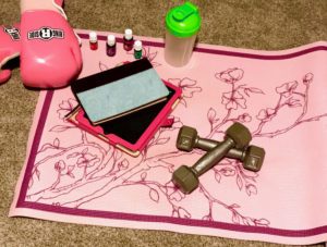 yoga mat with favorites on it